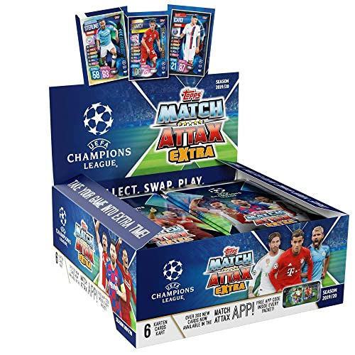 Match Attax 2019-20 Topps Extra Champions League Cards 6 Cards per Pack Box 30 Packs per Box