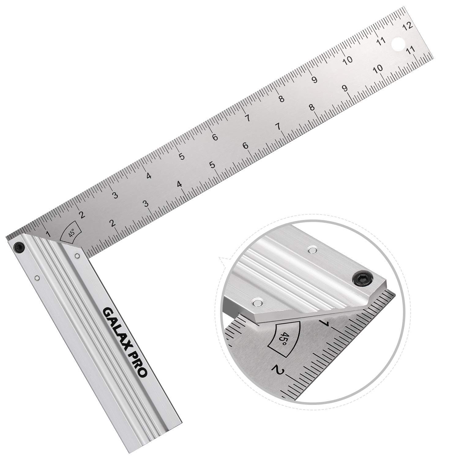 Level /& Measuring Layout Tool Aluminum Alloy Handle Ideal for Measuring Right Angle Green Level Bubble GALAX PRO 300MM L-Shaped Aluminum Try Square with Spirit Level Hanging Hole