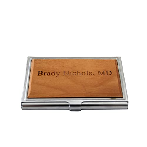 Personalized Wood Business Card Holder Customized Gift for Men Engraved Business Card Case