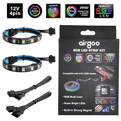 Compatible with ASUS Aura Gigabyte RGB Funsion PC RGB LED Strip Light ASROCK Aura RGB Led 3pcs Magnetic LED Strip for M//B with 12V 4-Pin RGB LED headers with Back Self-Adhesive MSI Mystic Light