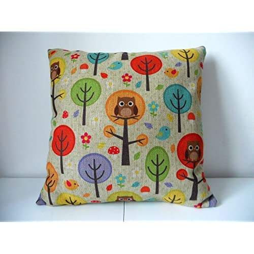 Buy Cotton Linen Square Decorative Throw Pillow Case Cushion Cover Owls With Trees 18 X18 Online In Lebanon B00qbzpk8u