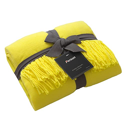 50 x 60 PERSUN Lightweight Throw Blanket Soft Decorative Knit Blankets with Fringe for Sofa Couch Home Decor Bright Yellow 50 x 60 PSHPB00QAC-Yellow