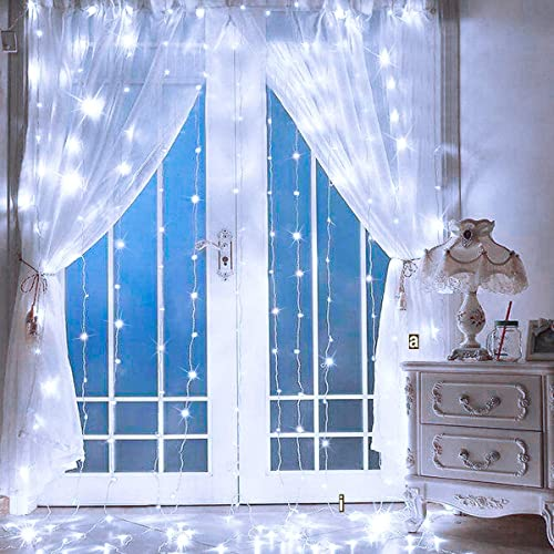 Supernight Led Curtain Lights Window Curtain Twinkle String Lights For Patio Bedroom Wedding Party Thanksgiving Day Christmas Decoration 9 8 X 9 8 Ft 300leds 8 Modes Timer Cool White Buy Products Online With