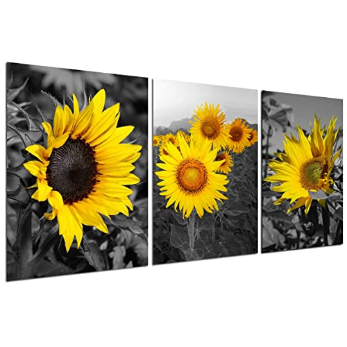Buy Sunflower Decor Wall Art Prints Black And White Yellow Canvas Painting Flower Plant Daisy Floral Pictures 3 Panels Unframed Bedroom Living Room Bathroom Kitchen Decoration Home Office Modern Artwork Online
