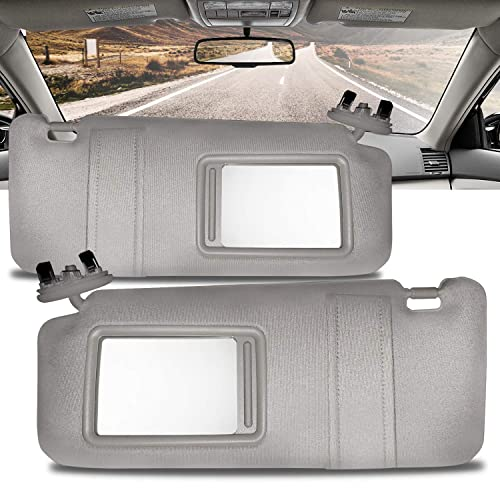 Make Auto Parts Manufacturing Set of 2 Driver and Passenger Side Gray Windshield Sun Visors for Toyota Camry with Sunroof and Light 2007 2008 2009 2010 2011