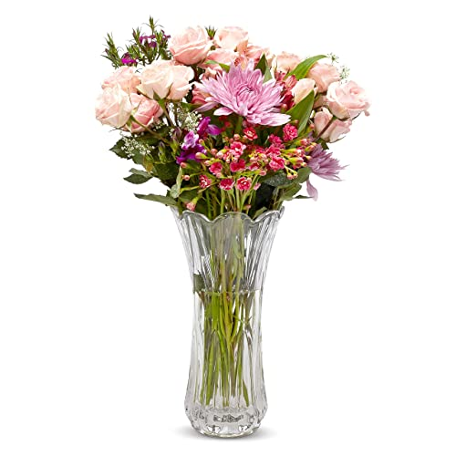 Buy Large Glass Crystal Vase For Flowers Flowers Not Included Crystal Flower Vase Home Kitchen Wedding Decorative Vases Kitchen Decor Home Decor Elegant Glass Vases Vases For Centerpieces Online In Lebanon B07s8yh36r