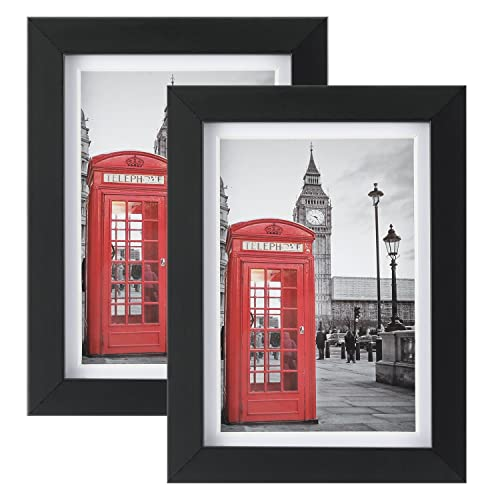 Buy One Wall Tempered Glass 5x7 Picture Frame Pack Of 2 With Mats For 4x6 Photo Black Wood Frame For Wall And Tabletop Mounting Hardware Included Online In Lebanon B07fzypztt
