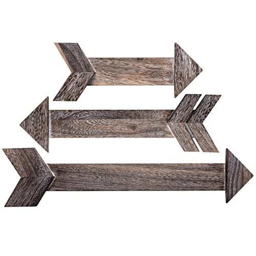 Buy Outshine Rustic Dark Brown Wooden Arrows For Farmhouse Home Wall Decor Set Of 3 Real Wood Decorative Arrow Signs Cute Decorations For Living Room Bedroom Kitchen Nursery Office Wedding