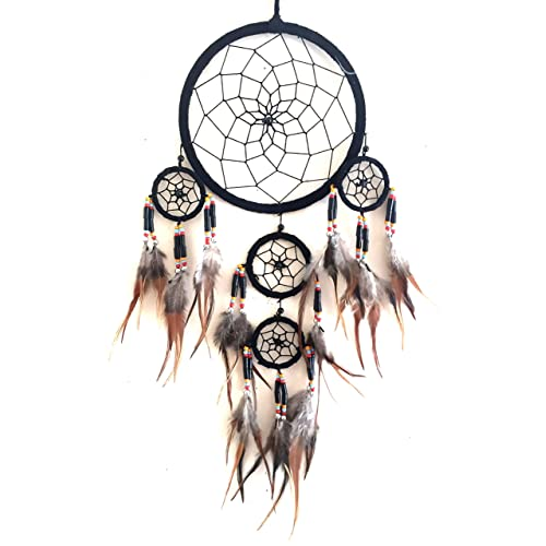 OMA Dream Catcher Traditional SUEDE Black Color With Feathers /& Beads 7 Diameter /& 25 Long BRAND 7 Diameter /& 25 Long BRAND OM-WB1611