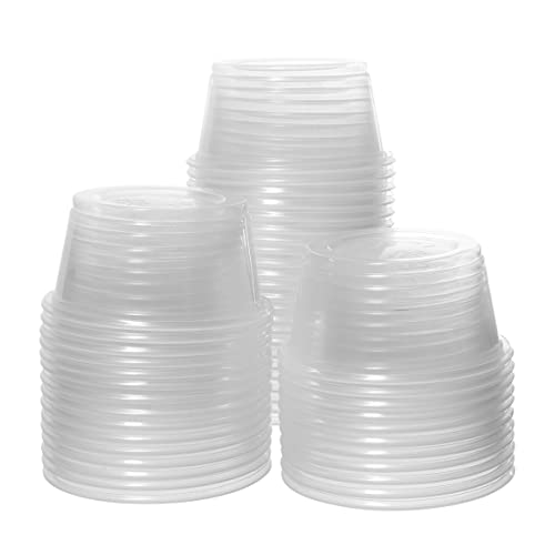 Disposable 4 oz Jello Shot 100 Cups Clear Souffl/é Portion Sampling Cup Crystalware 100 Cups Plastic Portion Cups Without Lids Condiment Cup