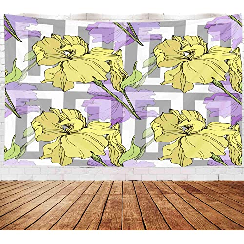 Buy Bisead Wall Art For Bedroom Tapestry Map Art Tapestry 80x60 Inchs Yellow Iris Floral Botanical Flower Wild Spring Leaf Wildflower Isolated Engraved Ink Art Wall Hanging Gifts For Bedroom Dorm Décor