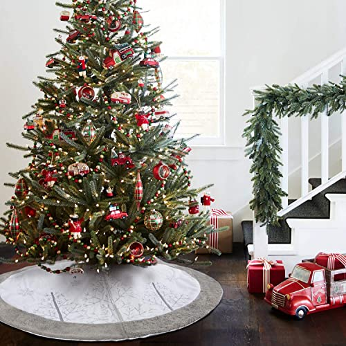 Buy Edldecco Christmas Tree Skirt Grey Winter Tree With Faux Fur Trim 48 Inches Large Xmas Holiday Party Decor Ornaments Online In Lebanon B07x4d63j4