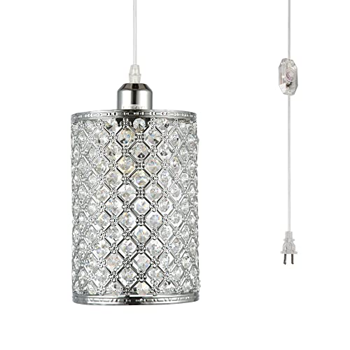 Buy Hmvpl Plug In Pendant Lighting Fixtures With Long Hanging Cord And Dimmer Switch Modern Crystal Hanging Chandelier Sparkly Swag Ceiling Lamp For Kitchen Island Dining Table Bed Room Girls Closet Online In
