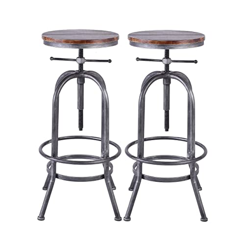 Lokkhan Industrial Bar Stool Vintage Adjustable Swivel Metal Wood Stool Rustic Farmhouse Bar Stool Cast Iron 26 32 3 Inch Kitchen Counter Height Bar Height Silver2pcs Buy Products Online With Ubuy Lebanon In Affordable Prices B085hr6w73