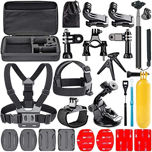 Navitech 9 in 1 Action Camera Accessory Combo Kit and Rugged Grey Storage Case Compatible with The GoXtreme Pioneer Action Camera