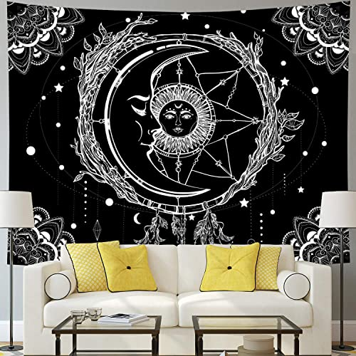 Buy Moon And Sun Tapestry Psychedelic Bohemian Mandala Wall Tapestry Black And White Indian Hippy Celestial Tapestry Starry Dreamcatcher Tapestry Wall Hanging For Bedroom Living Room Dormw59 1 H51 2 Online In Lebanon