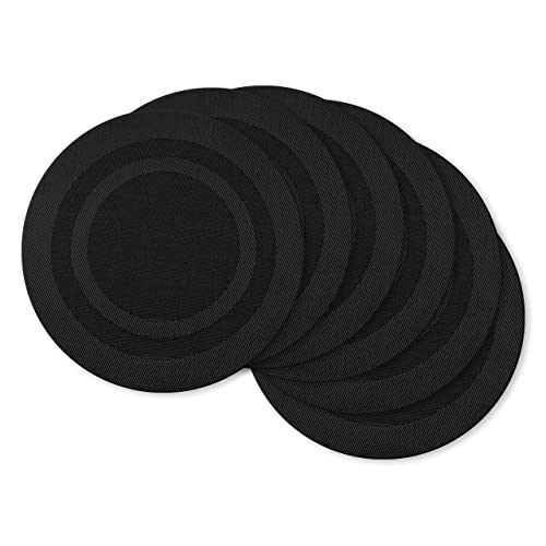 Bordered Black 6 Piece DII Vinyl Indoor//Outdoor Tabletop Round Placemat Set