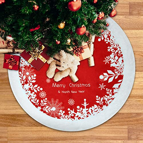 Buy Deyard Christmas Tree Skirt 48 Inches Large Thick Faux Fur Snowy Red And White Tree Skirt For Holiday Party Christmas Decorations 48 Snow White Online In Lebanon B07xg9kyln