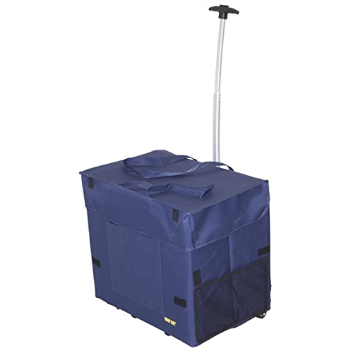 dbest products Wide Load Smart Cart Blue Rolling Multipurpose Collapsible Basket Cart Scrapbooking Laundry