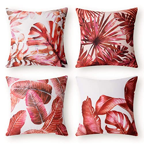 Buy Phantoscope Set Of 4 Tropical Palm Leaves Plant Printed Throw Pillow Case Cushion Cover Red 18 X 18 Inches 45 X 45 Cm Online In Lebanon B086kzdrrh