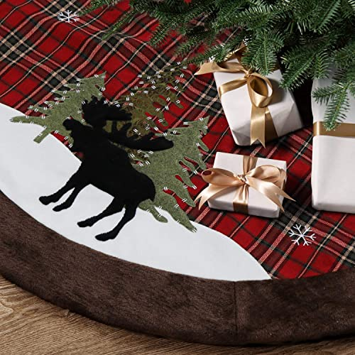 Buy Haumenly Classical Check Christmas Tree Skirt With Rustic Black Moose Embroidery Brown Faux Fur Trim Border Xmas Holiday Decoration 48 Inches Online In Lebanon B07zh6mkv4