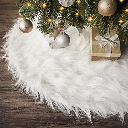 Ivenf Christmas Tree Skirt 48 Inches Large Snow White Luxury Thick Plush Faux Fur Skirt Rustic Xmas Tree Holiday Decorations Buy Products Online With Ubuy Lebanon In Affordable Prices B074w32h4m