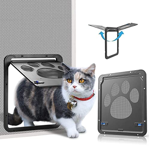 Berrysun Large Cat Door for Pets 4 Way Locking Cat Flap for Interior Exterior/pet Door,/Easy /& Quick Installation/Ideal/for Adult Cats and Small Dog Outer Size 9.9 x 9.2 inch