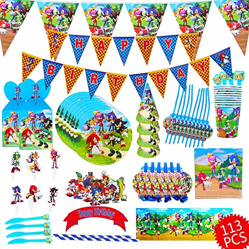 113 Pcs Sonic The Hedgehog Party Supplies Sonic The Hedgehog Birthday Decorations Sonic The Hedgehog Plates Banner Plates Cake Topper Party Supplies Kids Birthday Buy Products Online With Ubuy Lebanon In Affordable Prices B088th1hz9