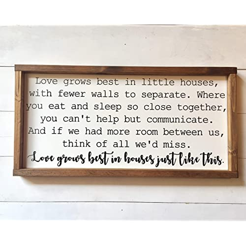 Buy Love Grows Best In Little Houses Farmhouse Style Wood Sign Rustic Wall Decor Framed Wood Sign Hanging Home Decoration Gift Online In Lebanon B0797nxr9r