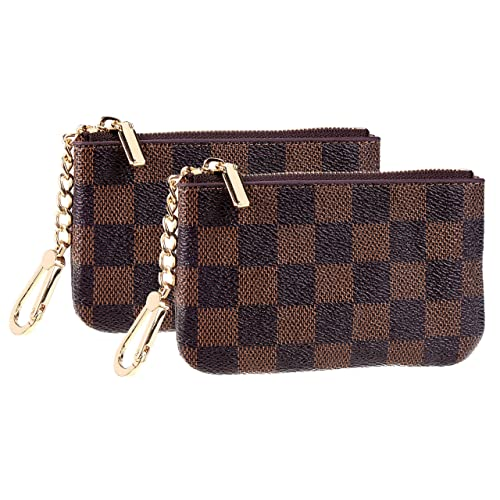 Rita Messi Luxury Checkered Vegan Leather Squeeze Coin Purse Pouch Change Holder For Men /& Women