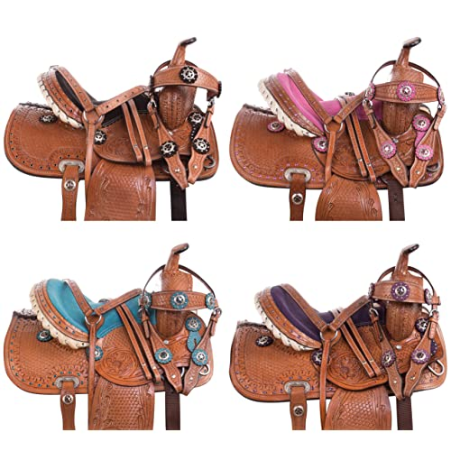 "Acerugs 10/"" 12/"" 13/"" Kids SEAT Western Synthetic Show Barrel Trail Pony Horse Saddle Sets Free Headstall REINS Breast Collar PAD Included"