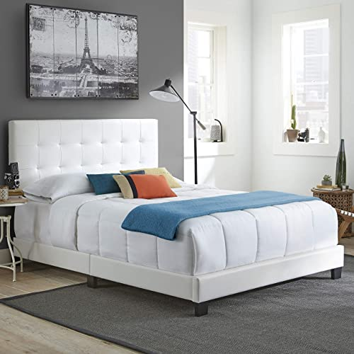 PSBU964QN Queen Boyd Sleep Pisa Upholstered Button Tufted Platform Bed Frame Mattress Foundation with Headboard and Strong Wood Slat Supports: Velour Blue