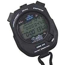 Marathon ST083020 Stopwatch with recallable Memory /& Dual Solar//Battery Power /& Jumbo Split Display Color-Black with Orange Buttons. Renewed