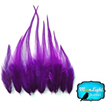 Medium Solid HOT PINK Rooster Hackle Hair Extension Feathers 1 Dozen