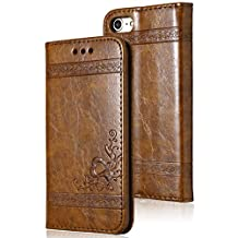 5.5 Inch iPhone 6s Plus Removable PU Leather Flip Cover Card Holder Cash Pocket Magnetic Closure Stand Holder Brown Doormoon Wallet Case Compatible with iPhone 6 Plus