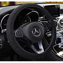 Black Warm in Winter and Cool in Summer Odorless Labbyway Universal Steering Wheel Covers,Microfiber Breathable Ice Silk Anti-Slip
