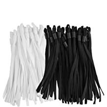 Atoli 100 Pieces Elastic Bands with Adjustable Buckle High Stretch String Cord Elastic Thread Rope for DIY Crafts Earloop Lanyard Earmuff Rope Elastic Cord for Masks White and Black Ear Strap Rope