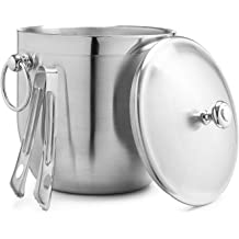 Barware//Champagne Bucket//Beverage Bucket,Serveware for Party,Event,and Camping Portable Double Wall Ice Bucket with Tong 1.3 Liters 5.5 x 5.5 Inch Stainless Steel Ice Bucket by LUCKYGOOBO