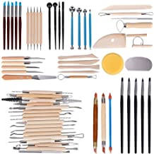 Wood and Steel 45PCS Pottery Sculpting Tools Set for Beginners Professional Art Crafts Schools and Home Safe for Kids Ceramic Clay Tools by Augernis