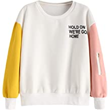 c9b12a61bf ZAFUL Women's Crew Neck Color Block Sweatshirt Graphic Long Sleeve  Pullovers Top