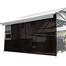 Black 12x12 RV Awning Shade Motorhome Patio Sun Screen Complete Deluxe Kit