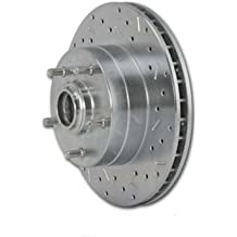 SSBC 23155AA3L Drilled Slotted Plated Front Driver Side Rotor for 2002-05 Hummer H2 Stainless Steel Brakes