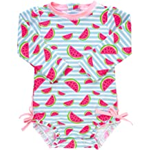 71bf22584f RuffleButts Baby/Toddler Girls UPF 50+ Sun Protection Long Sleeve One Piece  Swimsuit with
