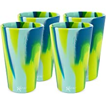Frosted White Silipint Silicone Pint Glass Set One of Each Pint Glass Arctic Sky Bend Blue Sea Swirl Patented Emerald Green Hippy Hops Shatter-proof Silicone Cup Drinkware BPA-Free