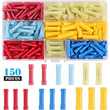 Kinstecks 150PCS Non-Insulated Ring Crimp Terminals Connector 6 Sizes O-Type Wire Crimp Copper Terminal Connerctor Kit for Automotive Car Motorcycle Boats Electric Instruments