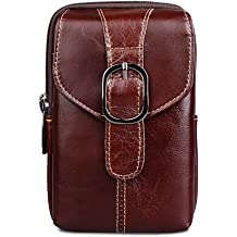 KUAISUF Genuine Leather Mens Waist Bag Famous Brand Cell Phone Case Bag Male Hook Belt Pack Wallet