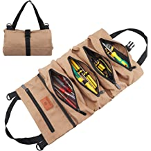 Plumber Blue Carpenter or Mechanic Wessleco Roll Up Tool Bag Wrench Roll Up Pouch Multi-Purpose Canvas Tool Roll Organize for Electrician HVAC