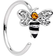 16 Gauge 1//4 Inch Yellow Gold Plated Jeweled Bumblebee Ear Cartilage//Helix Cuff 316L Surgical Steel Barbell A171