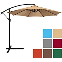 56e5b1eecae9d Best Choice Products 10ft Offset Hanging Market Patio Umbrella w/ Easy Tilt  Adjustment, Polyester Shade, 8 Ribs for Backyard, Poolside, Lawn .