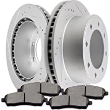 4pcs Drilled Slotted Brake Rotors and 8pcs Ceramic Disc Brake Pads fit 2000 2001 2002 2003 2004 2005 Ford Excursion 2000 2001 2002 2003 2004 Ford F-250 F-350 Super Duty SCITOO Brake Kits